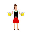 girl waitress bears beer vector image vector image