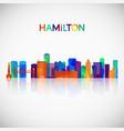 hamilton skyline silhouette in colorful geometric vector image vector image