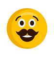 happy emoji with mustache vector image vector image