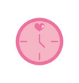 happy valentines day round clock time date heart vector image
