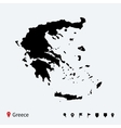 High detailed map of Greece with navigation pins vector image