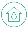 House with water drop line icon vector image