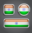 India flag glass buttons vector image vector image