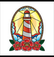 lighthouse of old school tattoos vector image vector image