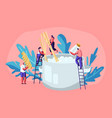 male and female tiny characters cooking pasta vector image vector image