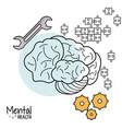 mental health brain gear puzzle tool vector image vector image