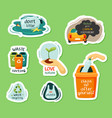nature protection and garbage recycling stickers vector image