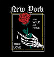 new york rose trendy print vector image vector image