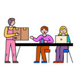 people work at office courier deliver parcel vector image vector image