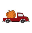 pumpkin truck hand drawn design template isolated vector image