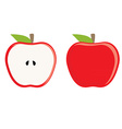Red apple whole and half vector image vector image
