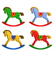 rocking horses set children s toy classic wooden vector image