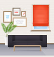 room interior with furniture and window blinds vector image
