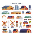 rural buildings set barn country house windmill vector image