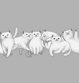 seamless pattern with cartoon white cats vector image