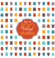 Set of 100 colourful vintage shields vector image