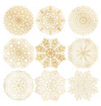 set of 9 hand-drawn arabic mandala on white vector image vector image