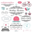 set of vintage wedding invitation design elements vector image vector image