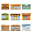 store shop front window buildings icon set flat vector image