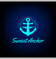 sunset sunrise anchor boat ship navy nautical vector image vector image