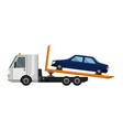 tow truck flat faulty car loaded on a truck vector image vector image
