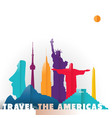 travel americas paper cut world monuments vector image vector image