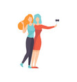 two beautiful women friends making self photo vector image vector image