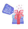 valentine s day gift box with tag colorful vector image
