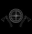 viking shield and axes hand drawn sketch vector image vector image