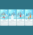 wintertime set of placards on vector image