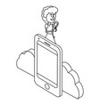 woman and technology isometric black and white vector image vector image