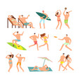 young and happy family on sunny beach vector image vector image
