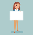 young brunette girl holding blank sign vector image