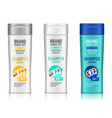 cosmetic packaging realistic plastic shampoo or vector image