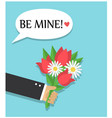 a bouquet flowers as a gift and a declaration o vector image vector image