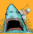 a dentist and a shark doctor makes cauterized vector image vector image