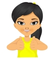 asian little girl showing two thumbs up vector image vector image