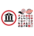 Bank Flat Icon with Bonus vector image vector image