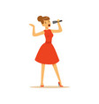 beautiful woman singer in red dress singing with vector image vector image