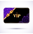 Black vip card template with purple glitter effect vector image