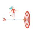 businesswoman standing on dart arrow to achieve vector image vector image