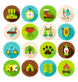 camping hiking circle icons set vector image vector image