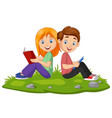 cartoon boy and girl reading books on grass vector image vector image