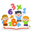 children learning mathematics with opened books vector image vector image