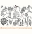 christmas hand drawn elements set xmas vector image