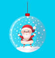 christmas toy snow ball with santa claus inside vector image vector image