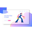 cleaning service website landing page female vector image vector image