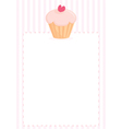 Cupcake with heart sweet pink menu vector image vector image