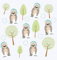 cute and funny animals background pattern vector image