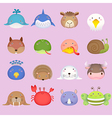 Cute cartoon animal head set 3 vector image vector image